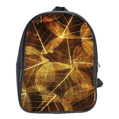 Leaves Autumn Texture Brown School Bags(large)