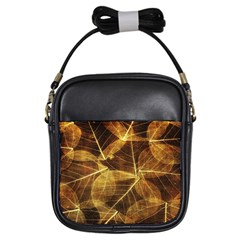 Leaves Autumn Texture Brown Girls Sling Bags