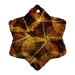 Leaves Autumn Texture Brown Snowflake Ornament (Two Sides)