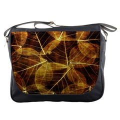 Leaves Autumn Texture Brown Messenger Bags