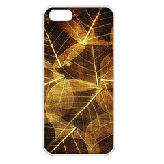 Leaves Autumn Texture Brown Apple iPhone 5 Seamless Case (White)