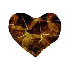 Leaves Autumn Texture Brown Standard 16  Premium Heart Shape Cushions