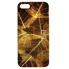 Leaves Autumn Texture Brown Apple Iphone 5 Hardshell Case With Stand