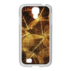 Leaves Autumn Texture Brown Samsung Galaxy S4 I9500/ I9505 Case (white)