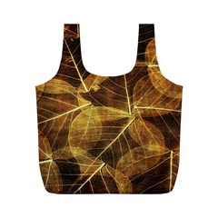 Leaves Autumn Texture Brown Full Print Recycle Bags (m)
