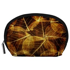 Leaves Autumn Texture Brown Accessory Pouches (large)