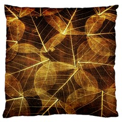 Leaves Autumn Texture Brown Large Flano Cushion Case (one Side)