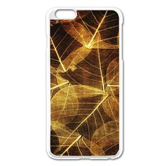Leaves Autumn Texture Brown Apple Iphone 6 Plus/6s Plus Enamel White Case