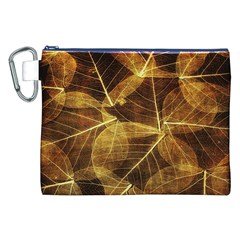 Leaves Autumn Texture Brown Canvas Cosmetic Bag (xxl)