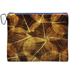Leaves Autumn Texture Brown Canvas Cosmetic Bag (xxxl)