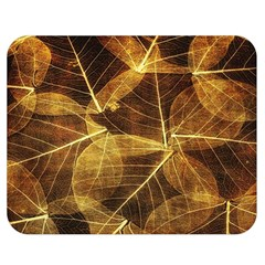Leaves Autumn Texture Brown Double Sided Flano Blanket (Medium)