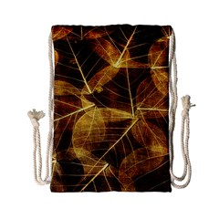Leaves Autumn Texture Brown Drawstring Bag (small)