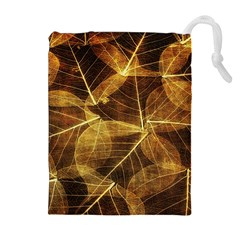 Leaves Autumn Texture Brown Drawstring Pouches (extra Large)