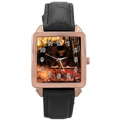 Locomotive Rose Gold Leather Watch
