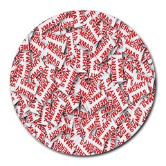 Merry Christmas Xmas Pattern Round Mousepads