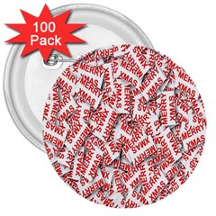 Merry Christmas Xmas Pattern 3  Buttons (100 pack)