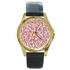 Merry Christmas Xmas Pattern Round Gold Metal Watch