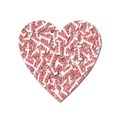Merry Christmas Xmas Pattern Heart Magnet
