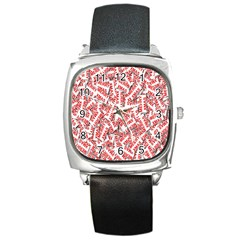 Merry Christmas Xmas Pattern Square Metal Watch