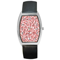 Merry Christmas Xmas Pattern Barrel Style Metal Watch