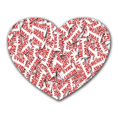Merry Christmas Xmas Pattern Heart Mousepads