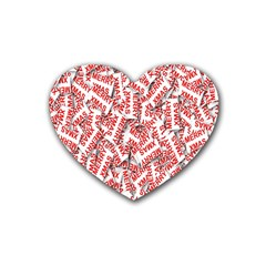 Merry Christmas Xmas Pattern Rubber Coaster (Heart)