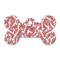Merry Christmas Xmas Pattern Dog Tag Bone (Two Sides)
