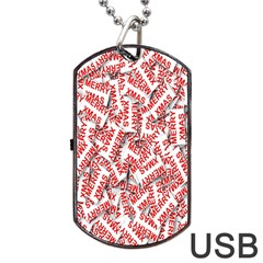 Merry Christmas Xmas Pattern Dog Tag USB Flash (One Side)