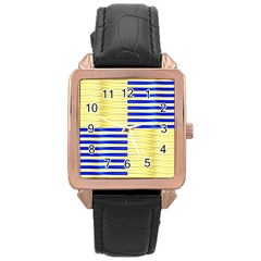 Metallic Gold Texture Rose Gold Leather Watch