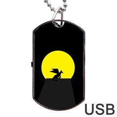 Moon And Dragon Dragon Sky Dragon Dog Tag USB Flash (One Side)