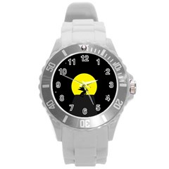 Moon And Dragon Dragon Sky Dragon Round Plastic Sport Watch (L)