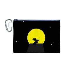 Moon And Dragon Dragon Sky Dragon Canvas Cosmetic Bag (M)