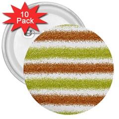 Metallic Gold Glitter Stripes 3  Buttons (10 pack)