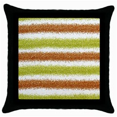 Metallic Gold Glitter Stripes Throw Pillow Case (Black)