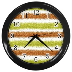Metallic Gold Glitter Stripes Wall Clocks (Black)