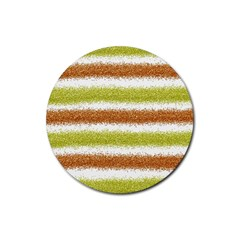 Metallic Gold Glitter Stripes Rubber Coaster (Round)
