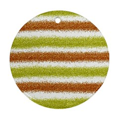 Metallic Gold Glitter Stripes Round Ornament (Two Sides)