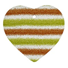Metallic Gold Glitter Stripes Heart Ornament (Two Sides)