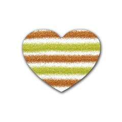 Metallic Gold Glitter Stripes Heart Coaster (4 pack)