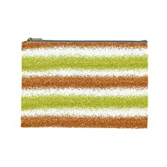 Metallic Gold Glitter Stripes Cosmetic Bag (Large)