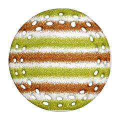 Metallic Gold Glitter Stripes Ornament (round Filigree)