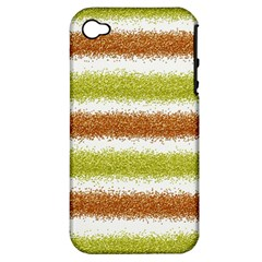 Metallic Gold Glitter Stripes Apple Iphone 4/4s Hardshell Case (pc+silicone)