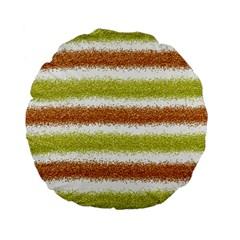 Metallic Gold Glitter Stripes Standard 15  Premium Flano Round Cushions