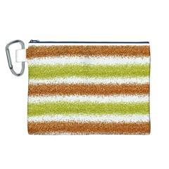 Metallic Gold Glitter Stripes Canvas Cosmetic Bag (L)