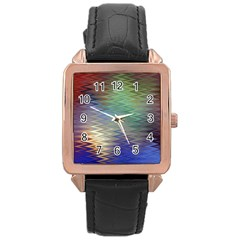 Metallizer Art Glass Rose Gold Leather Watch