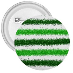 Metallic Green Glitter Stripes 3  Buttons
