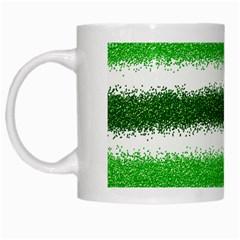 Metallic Green Glitter Stripes White Mugs