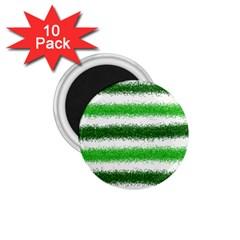 Metallic Green Glitter Stripes 1.75  Magnets (10 pack)