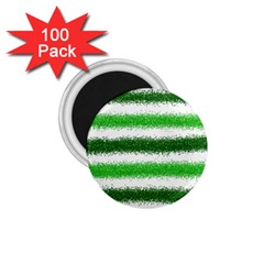 Metallic Green Glitter Stripes 1.75  Magnets (100 pack)