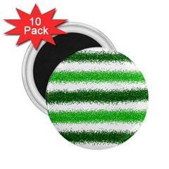 Metallic Green Glitter Stripes 2 25  Magnets (10 Pack)